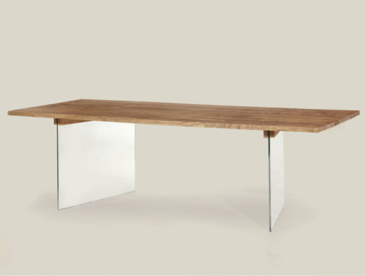 Aged solid oak table with glass legs - Art.15
