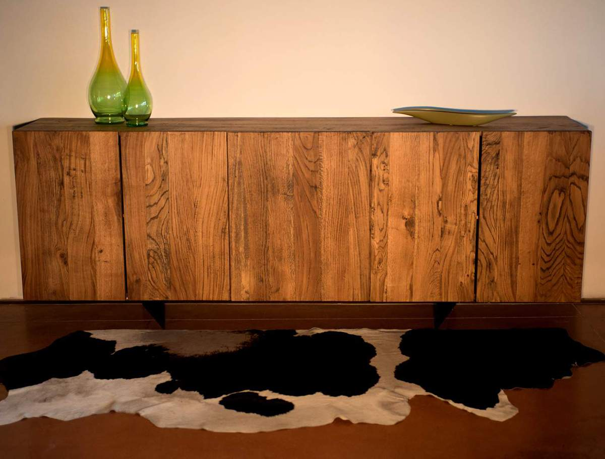 Handmade rustic Solid Oak Sideboard with five doors