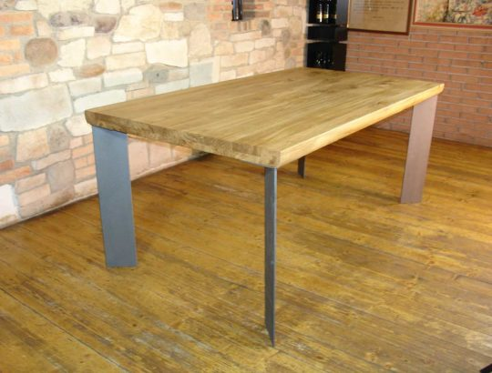 Aged oak table with iron legs